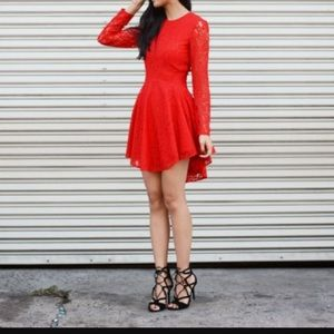 H&M Red Lace High-Low dress